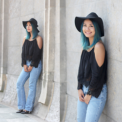 May B. - New Dress Off Shoulder Crop Top, Levi's® Flare Jeans, Zara Lace Up Stiletto, H&M Hat - OHMAYGOD.com || off shoulder crop top and flare jeans