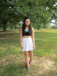 Juliet Ly - Banana Republic Mesh Skirt, Fila Trainers, Mr. Kate Necklace - Sport Luxe One
