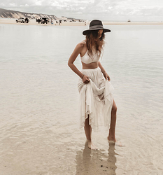 Elle-May Leckenby - White Drape Maxi Skirt, Rusty High Neck Bikini - White Island