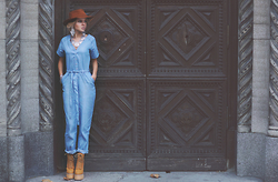 Krist Elle - Blue Jumpsuit Nextshe - IN THE DOORWAY