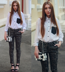 Andreea Miclăuş - Romwe Grid Pants, Chanel Bag, Stradivarius Sandals, Unique Shirt - Black & White Graphics + Vote for me!