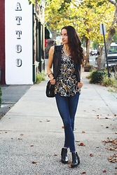 Lindsay W. - Lucky Brand Floral Print Blouse, Citizens Of Humanity High Rise Skinny Jeans, H&M Leather Vest, Steven Madden Leather Booties - Feeling Lucky