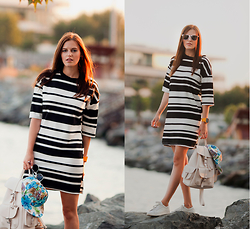 Viktoriya Sener - Romwe Dress, Zerouv Cap, Freyrs Sun Glasses, Mango Backpack, Mango Trainers - STRIPED DRESS