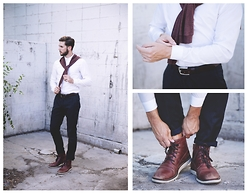 Austin Foxtail Allan - Bdg Maroon Cardigan, Tommy Hilfiger Maroon Leather Boots - Soft Leathered Maroon on White
