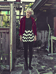 Malin Z - Striped Skorts, Unif Red Velvet Moto Jacket - 24