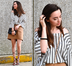 Carissa G. - Gap Skirt, Bakers Shoes, Notations Top, Forever 21 Rings - Stripes