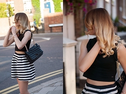 Monchanvre - H&M Skirt, Mohito Bag, Mohito Top - Crop top & skirt in stripes