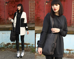 Jane Dean - Blackmilk Sweater Dress, Scaramangashop Tote Bag, Nike Sneakers - <3