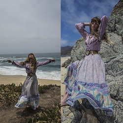 Alexe Bec - Spell Designs Skirt, Spell Designs Blouse - Mermaiding on the beach.