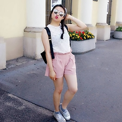 Esther Mok - Pink Shorts, Zara White Top, Aldo Sunglasses, Vans Silver, Marc By Jacobs Backpack, Other Stories Bangles, River Island Cute Headwear - White and Pink