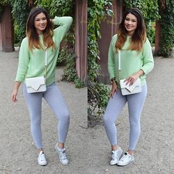 Raspberry Jam - Primark Green Knit Sweater, Primark Bag, American Apparel Leggings, Guess Sneakers - Green Knit Sweater
