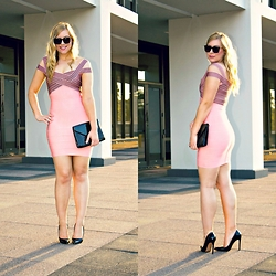 Rachel @Rachel's Lookbook - The Kewl Shop Bandage Dress, Forever 21 Clutch, Schutz Heels - Pink & Black Bandage Dress
