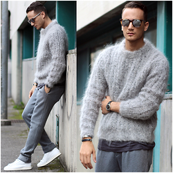 I N F A S H I O N I T Y a style story - Dior Homme Black Tie Sunglasses, H&M Mohair Sweater, Adidas Stan Smith Mid - MOHAIR