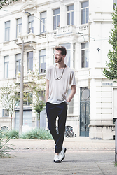 Martin Bonke - New Ootd On Fckhim, Bershka Sheer Fabric Tee, American Apparel Dark Twill Pants, Steve Madden White Oxfords - Sheer Monday's.