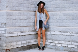 Yulia Sidorenko - Wholesalebuying Bag, Asos Shoes, Chicwish Hat, Oasap Vest, Tvoe Top, Happiness Boutique Necklace, Lookbook Store Shorts - Geometry