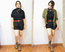 Nelly Ojeda - Thrifted Black Button Up, Nelly O. Black Pijama Shorts, Zara Suede Boots, Mr. Price Parka, Vintage Wine Belt, Thrifted Bandana - ¡VIVA MÉXICO!