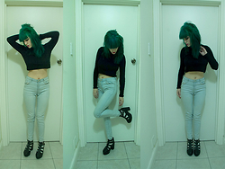 Jenna Alexandra - Topshop Crop Jersey, Mango High Rise Jeans - Among This Delicate Green