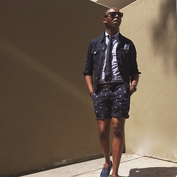 "David Thande - Sperry Topsider Slipon Cvo's, H&M Slim Fit Shorts, Jcrew Canvas Belt, American Apparel Cotton Pocket Square, Ben Sherman Silk Tie, Levi's® Chambray Denim Jacket, Jcrew Washed Shirt, Apple Watch Space Black Stainless Steel, Warby Parker Thatcher -  "" And today, We owe it to that Generation. """