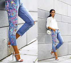 Anna Mour ♥ - Wholesalebuying White Mini Crossbody - Paint Splattered Jeans