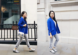 Esther Mok - Forever 21 Electric Blue Blazer, Forever 21 White Top, Killah Grey Jeans, Jipa Japa Silver Bag, Topshop Silver Shoes - Silver Grey Blue