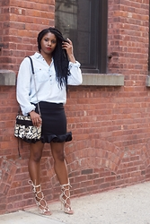Monroe Steele - H&M Top, Love Indie Skirt, Windsor Smith Lace Up Sandals, Rebecca Minkoff Bag - Meatpacking District NYC