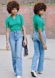 Alicia Nicholls - H&M Zippered Mock Neck Crop Top, H&M Flare High Jeans, Converse Hi Top Sneakers - Kelly Green