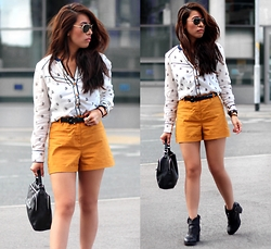 Sindy N - Shirt, Shorts, Shoes - Mustard Shorts