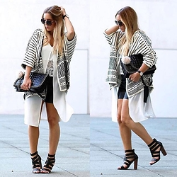 Fashiontwinstinct - H&M Cardi, Zara Top, Justfab Heels, Zara Leather Shorts, Zara Bag - Cape Mood Is On.