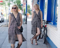 Liat Neuman - Club Monaco Jumpsuit, Zara Sandals - Lace up sandals and a silk jumper