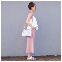 Sonja Shoppisticated - Zara Culotte, Birkenstock Shoes, Rebecca Minkoff Bag, Zara Top, Ray Ban Shades - Vacation Mood - Rose Culotte