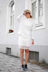 Esra E. - Zara Oversized Shirt, New Yorker Mesh Pencil Skirt - All white