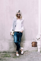 Laugh of Artist - Yayou Blouse, River Island Jean, River Island Sandals, Tammy & Benjamin Clutch, Freyrs Glasses - Yayou