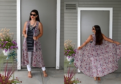 Sera A. - Celine Tortoise Sunglasses, Mossimo Red And White Floral Vest, Target Stars And Stripes Tank, Tory Burch Nude Sandals - Florals & Stripes