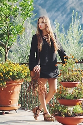 Jeany Roge -  - Black 70s Dress