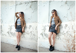 Atsuna Matsui - Mango Rabbit Grey Chloe Crop Top, H&M Pleather Skirt, Urban Outfitters Jacket, Nasty Gal Spitfire Lennon Aviator Shades - Military Service