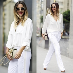 Manuella Lupascu - Zara Pants, Freyrs Sunglasses, Bag, H&M Shirt - It was all white for the weekend