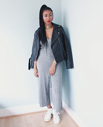 Lavinya Royes - Zara Knitted Jumpsuit, Mango Leather Jacket, Nike High Top Trainers, Primark Choker - THE KNITTED JUMPSUIT