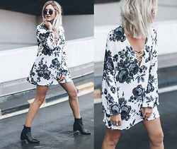 Mikuta - Motel Dress, Henry Kole Boots, Zerouv Sunglasses - MIRIAM FLORAL DRESS
