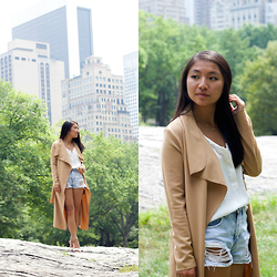 Christina Lau - Boohoo Duster Coat, Ro & De Tank, Forever 21 Shorts - The First Fall Transition