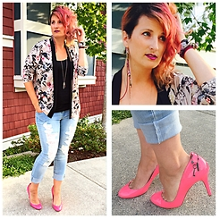 Mary Craig - Diesel Shoes Hot Pink High Heels, Clutch Jewels Rockstar Earrings - Last days of summer..