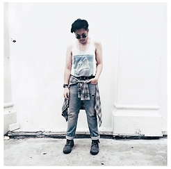 Valeri Novalianto - H&M Printed Tank Top, J Press Plaid Shirt, V Ave Shoe Repair Jeans, Steve Madden Combat Boots - Bream My Jaw