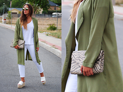 Claudia Villanueva - Dresslink Sunglasses, Zara T Shirt, Sheinside Jacket, H&M Clutch, Zara Jeans, Asos Sandals - Green in September