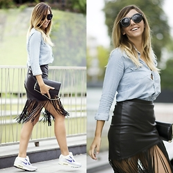 Manuella Lupascu - Nike Air Max Sneakers, Choies Fringe Leather Skirt, Denim Shirt, Sunglasses - Fringes from Summer to Fall