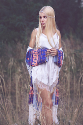 Krist Elle - Poppy Lovers Fashion White Lace Playsuit, Zaful Fringe Spliced Floral Print Kimono, Kristin Perry Draping Pearls Chain Headpiece - In the shadow of Mother Nature