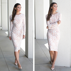 Tienlyn . - Ted Baker Nude Patent Heels, Doliche Lace Midi Dress - LACED