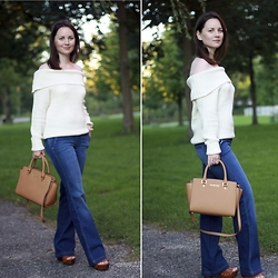 Albina Van den Berg @albinaberg - Fashion Union Off Shoulder Sweater, Michael Kors Selma Bag - Transitional look