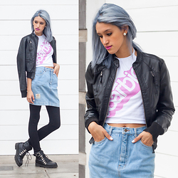 Andrea Chavez - Sweet Jungle Denim Skirt, Leather Jacket, Barbie Halter Top, Marquis Black Boots - Barbie in the 90's