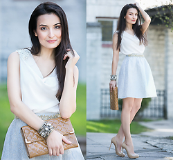 Lucine A - Waggon Paris Pastel Lilac Skirt, Patent Leather Clutch, Waggon Paris White Top, Waggon Paris Nude Pumps - Girlish