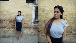 Pooja Mittal - Lace Blouse - Casual Chic- Lace Top Pencil Skirt