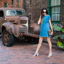 SmittenSophie - Aritzia Dress, Paul Green Sandals, Tom Ford Sunglasses, Tory Burch Bracelets - Denim Dress